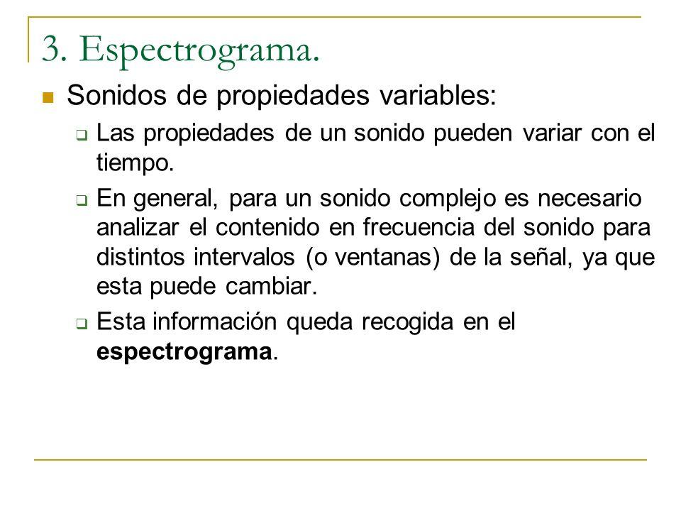3. Espectrograma. Sonidos de propiedades variables: