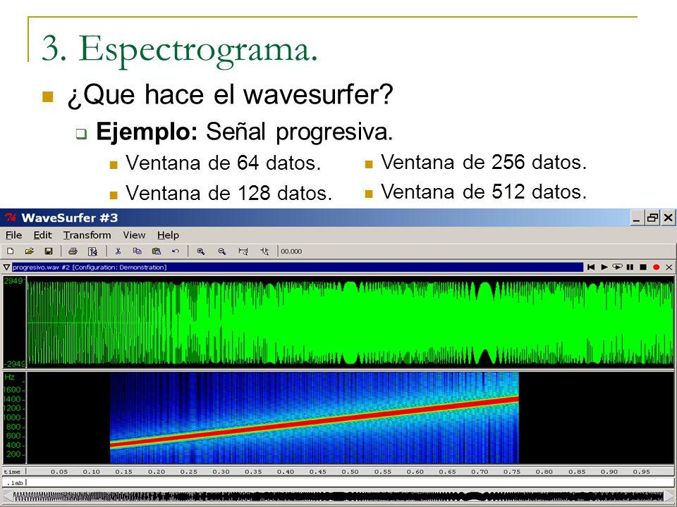 3. Espectrograma. ¿Que hace el wavesurfer Ejemplo: Señal progresiva.