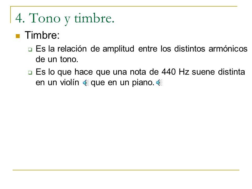 4. Tono y timbre. Timbre: Es la relación de amplitud entre los distintos armónicos de un tono.