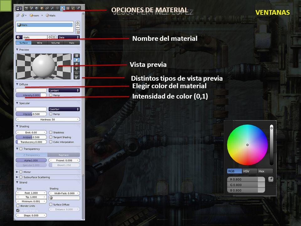 OPCIONES DE MATERIAL VENTANAS. Nombre del material. Vista previa. Distintos tipos de vista previa.