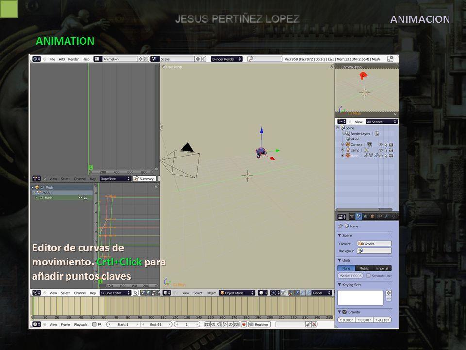 ANIMACION ANIMATION Editor de curvas de movimiento. Crtl+Click para añadir puntos claves