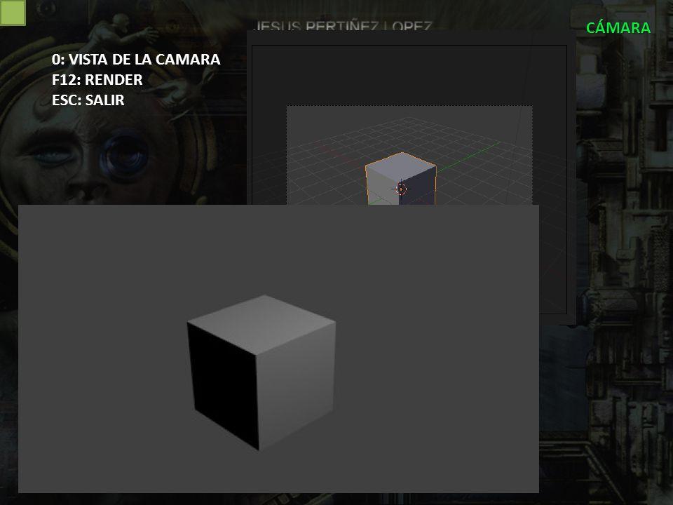 CÁMARA 0: VISTA DE LA CAMARA F12: RENDER ESC: SALIR