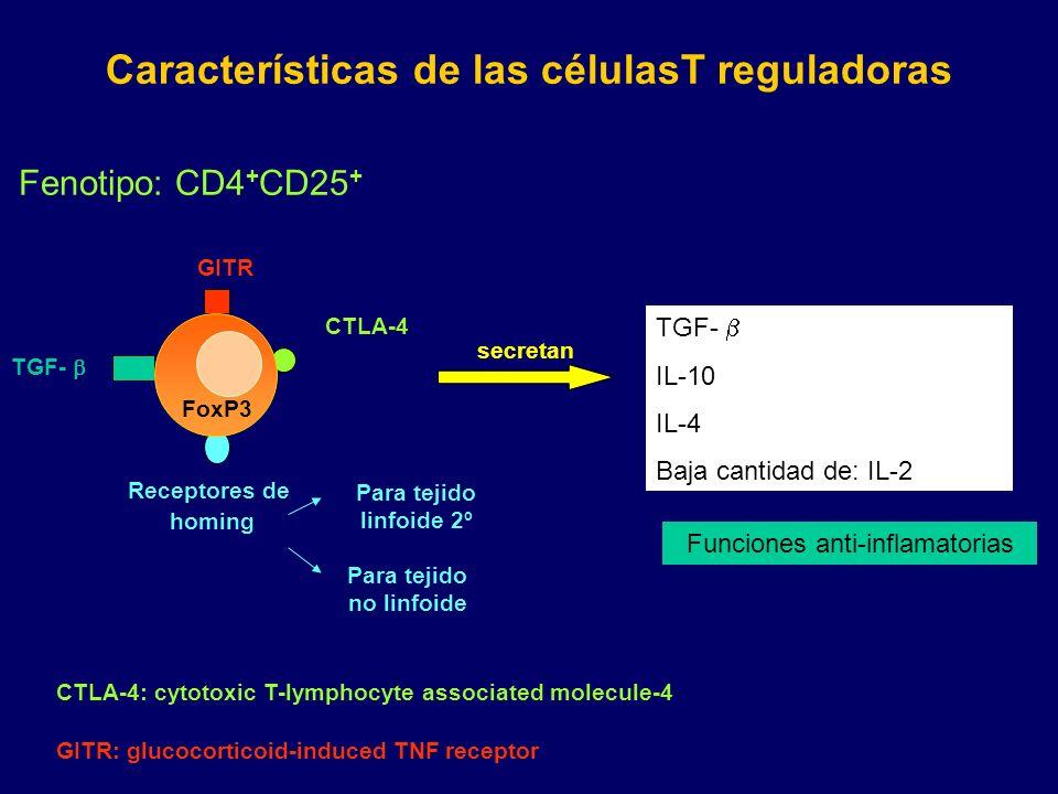 Características de las célulasT reguladoras