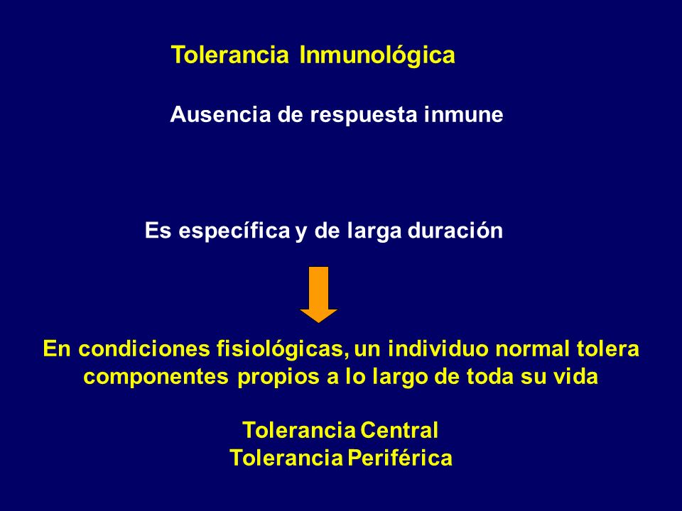 Ausencia de respuesta inmune Tolerancia Periférica