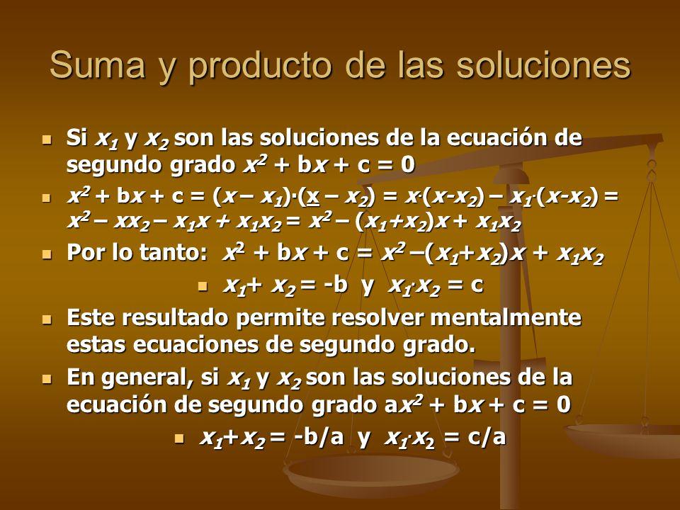 Suma y producto de las soluciones