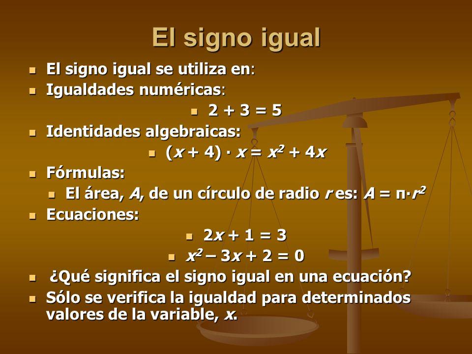 El área, A, de un círculo de radio r es: A = π∙r2