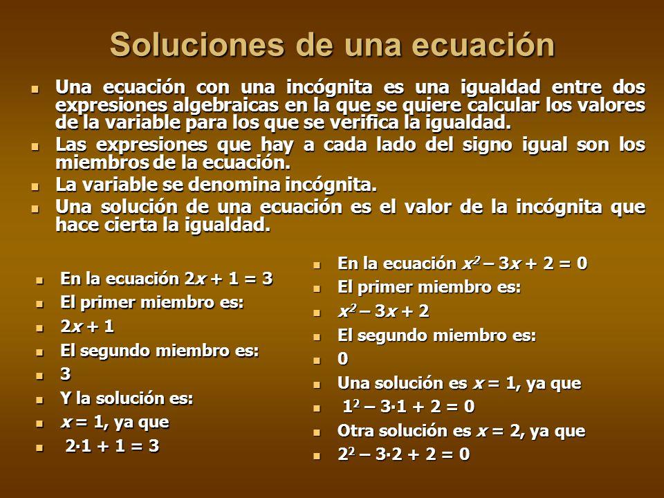Soluciones de una ecuación