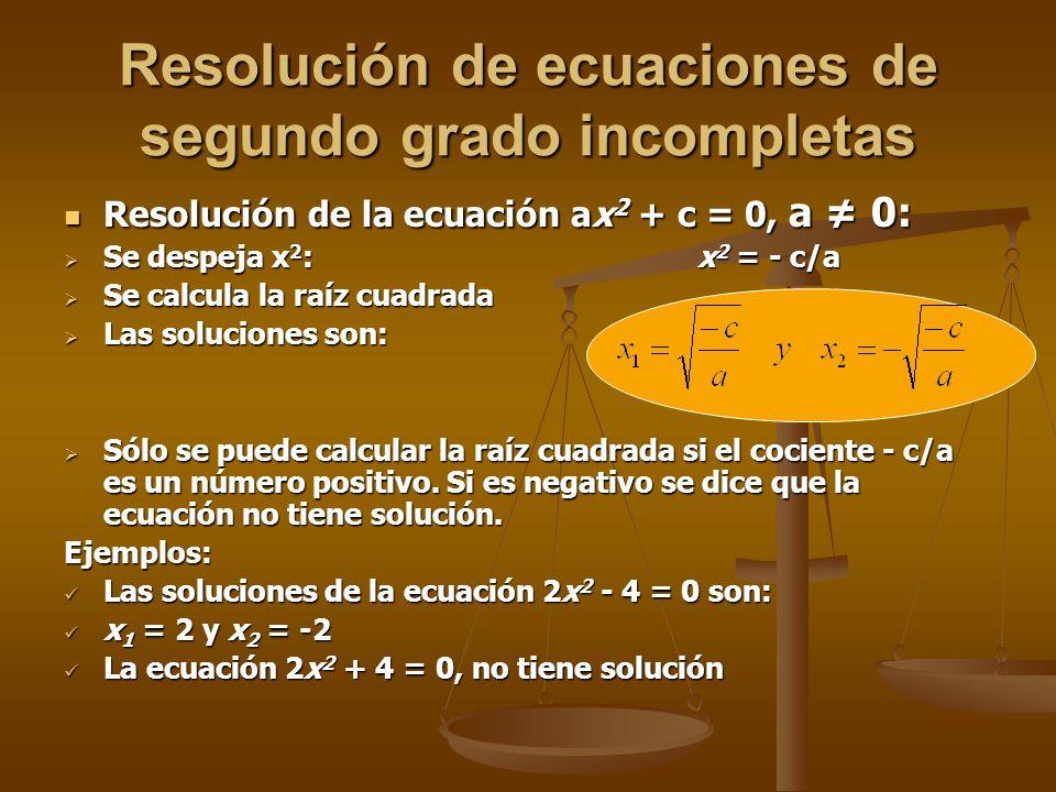 Resolución de ecuaciones de segundo grado incompletas
