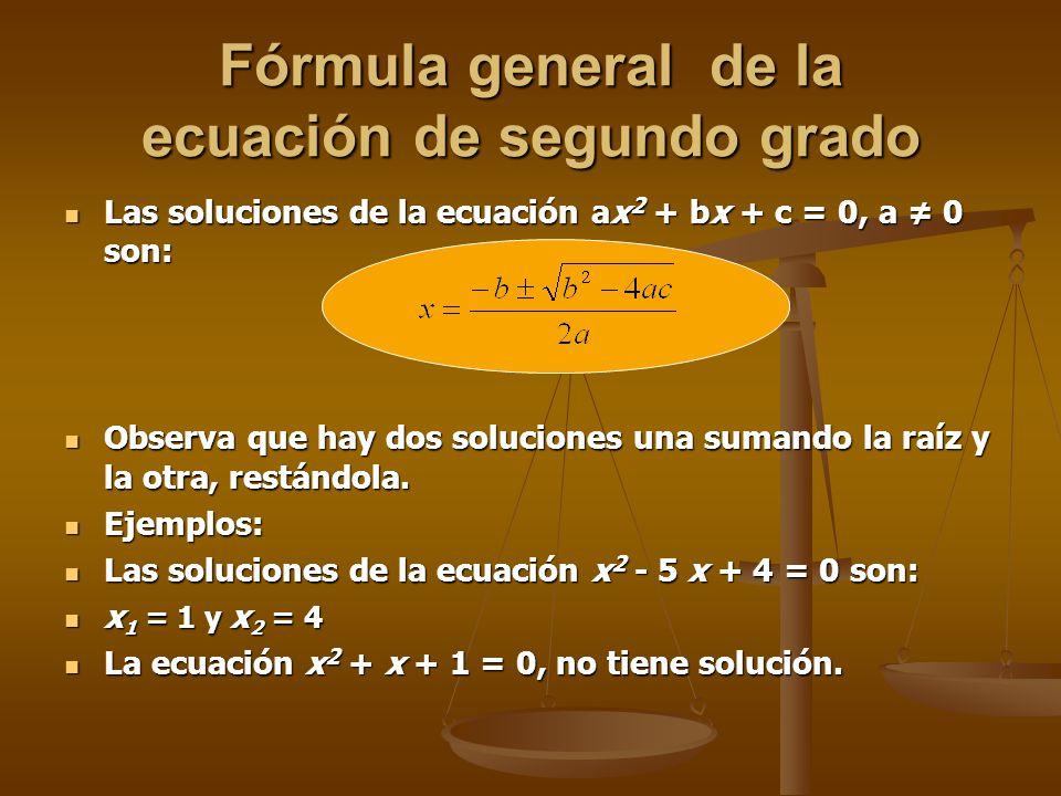 Fórmula general de la ecuación de segundo grado