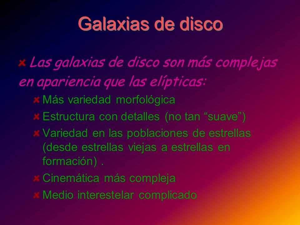Galaxias de disco Las galaxias de disco son más complejas