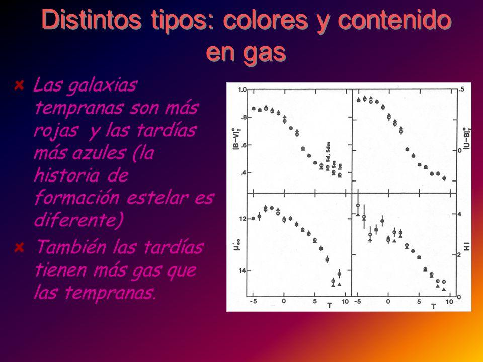 Distintos tipos: colores y contenido en gas