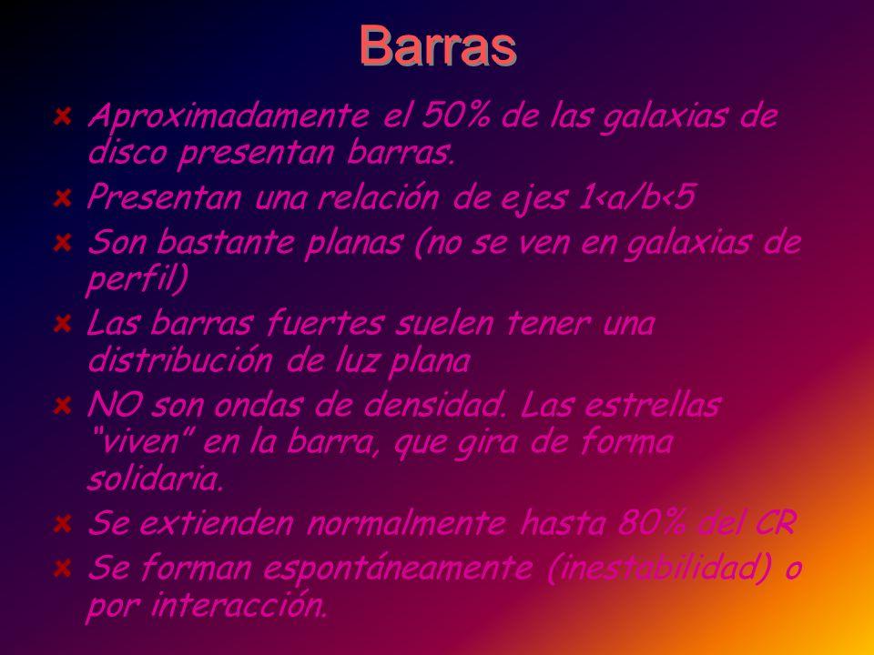 Barras Aproximadamente el 50% de las galaxias de disco presentan barras. Presentan una relación de ejes 1<a/b<5.