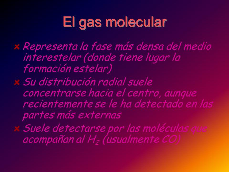 El gas molecular Representa la fase más densa del medio interestelar (donde tiene lugar la formación estelar)