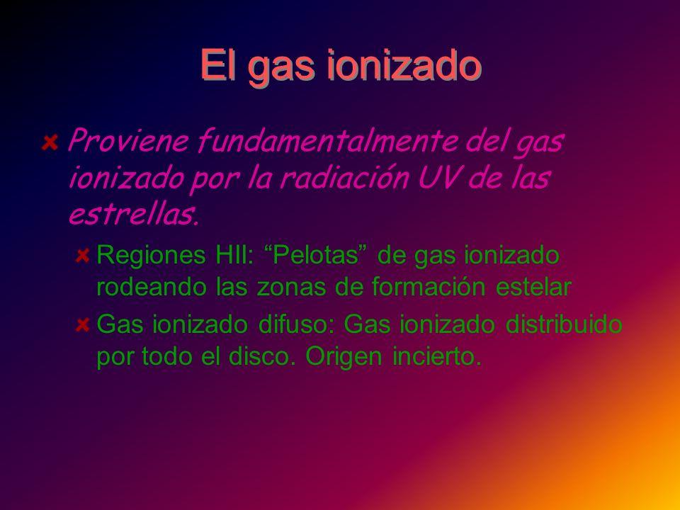 El gas ionizado Proviene fundamentalmente del gas ionizado por la radiación UV de las estrellas.