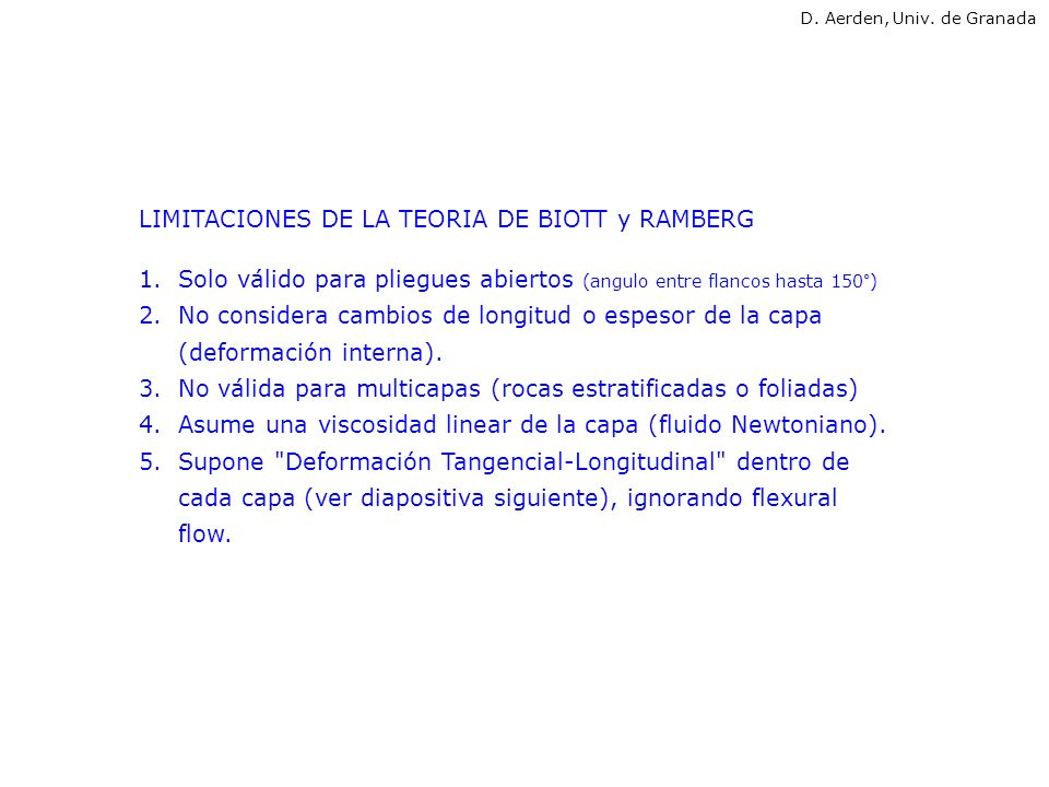 LIMITACIONES DE LA TEORIA DE BIOTT y RAMBERG