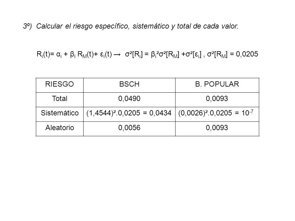 3º) Calcular el riesgo específico, sistemático y total de cada valor.