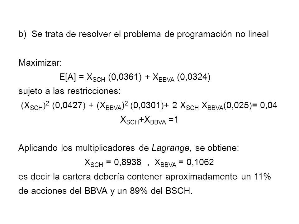 b) Se trata de resolver el problema de programación no lineal