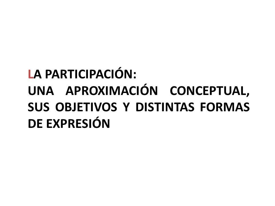 LA PARTICIPACIÓN: UNA APROXIMACIÓN CONCEPTUAL, SUS OBJETIVOS Y DISTINTAS FORMAS DE EXPRESIÓN
