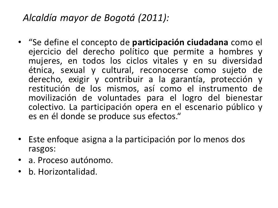 Alcaldía mayor de Bogotá (2011):
