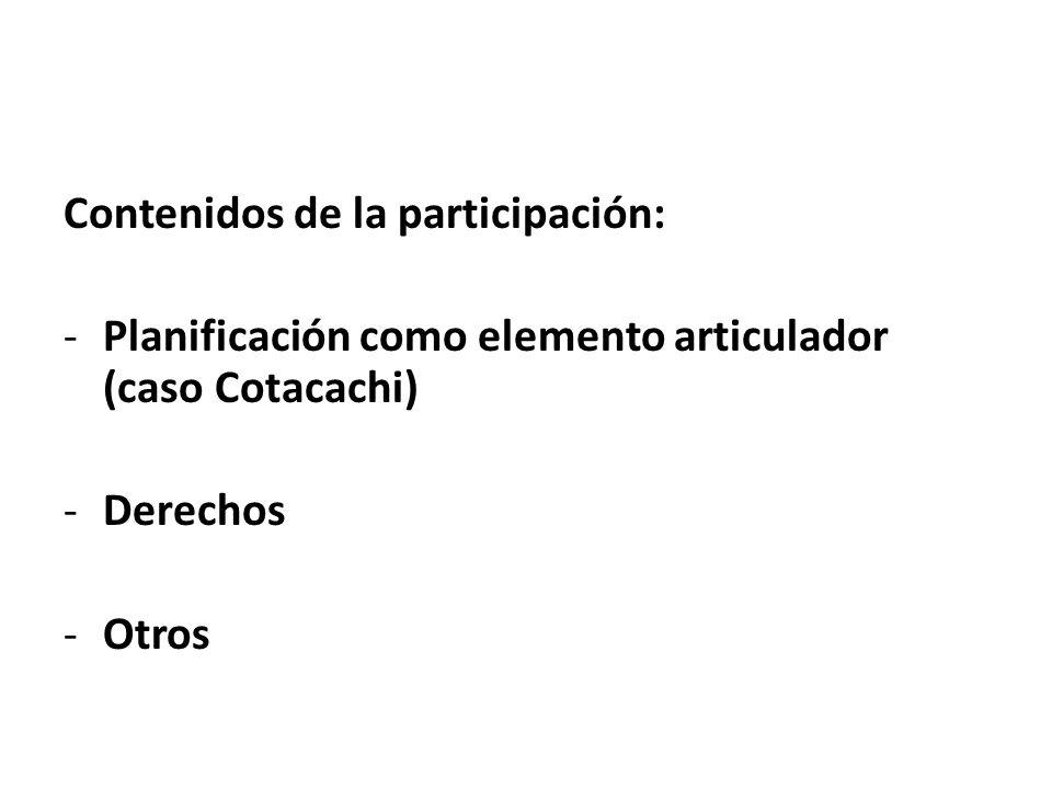 Contenidos de la participación: