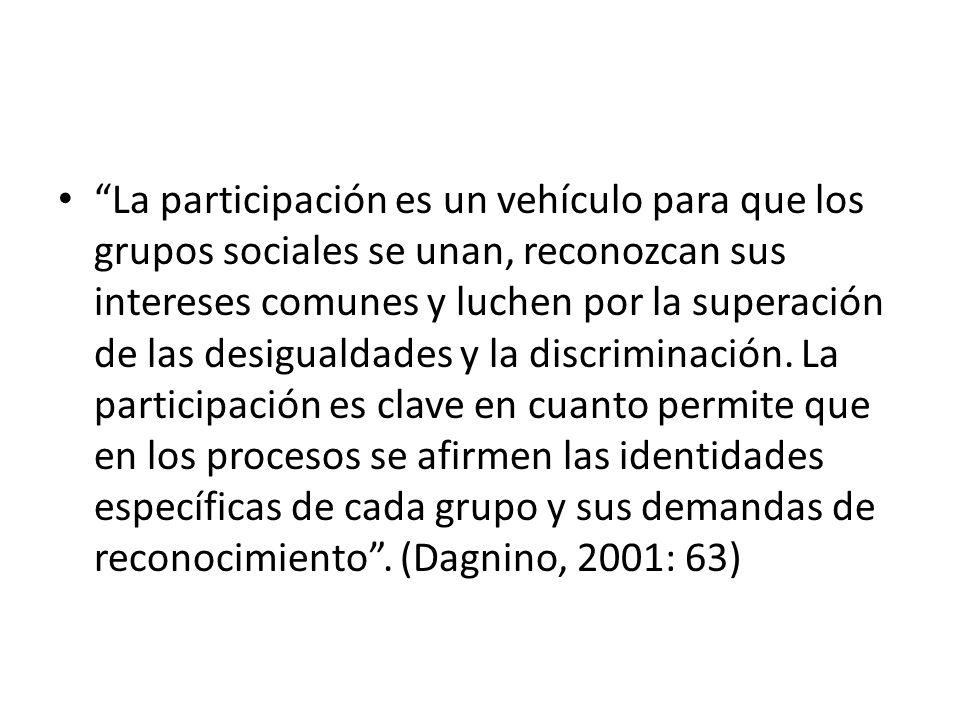 La participación es un vehículo para que los grupos sociales se unan, reconozcan sus intereses comunes y luchen por la superación de las desigualdades y la discriminación.