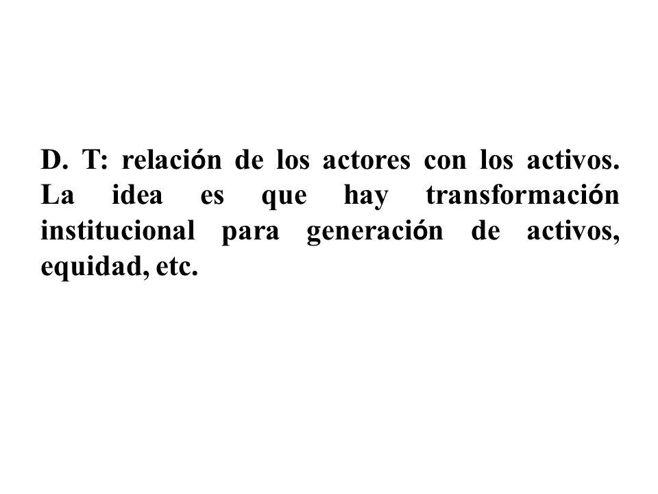 D. T: relación de los actores con los activos