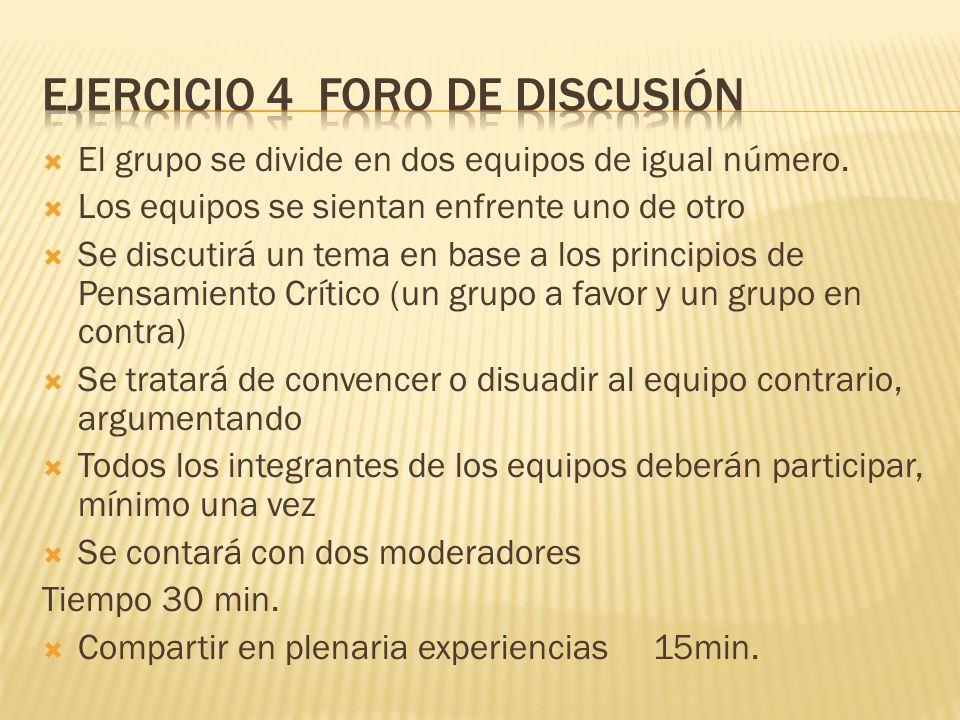 Ejercicio 4 foro de discusión