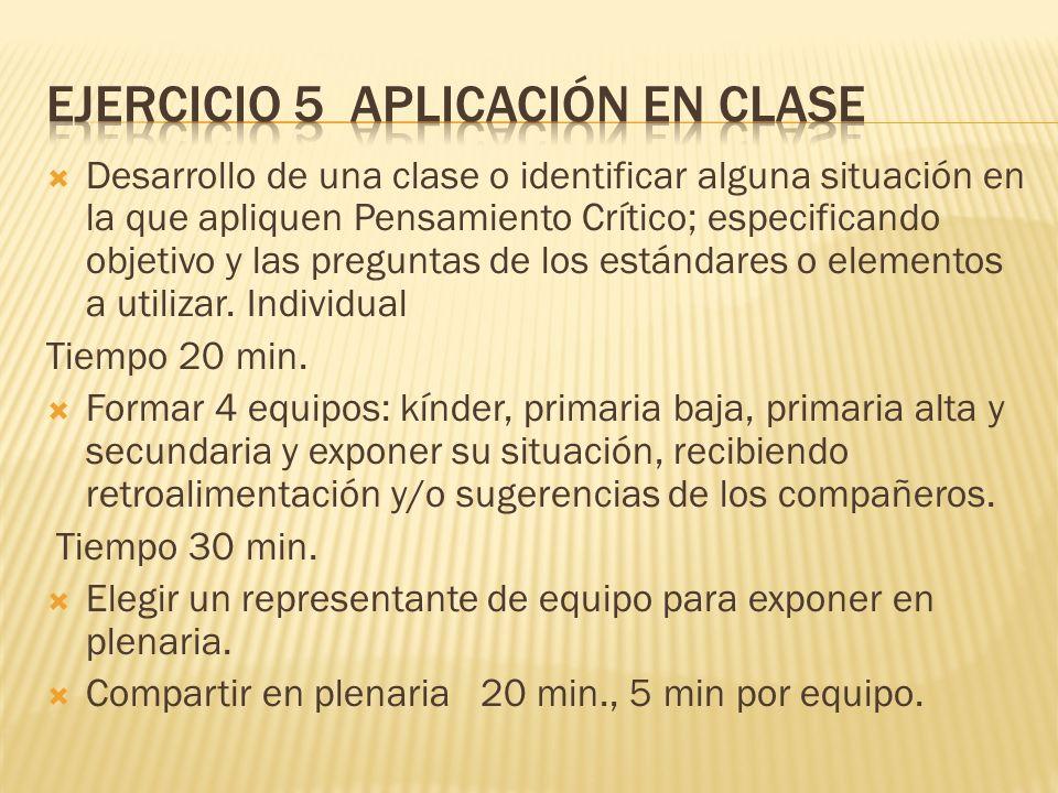 Ejercicio 5 Aplicación en clase