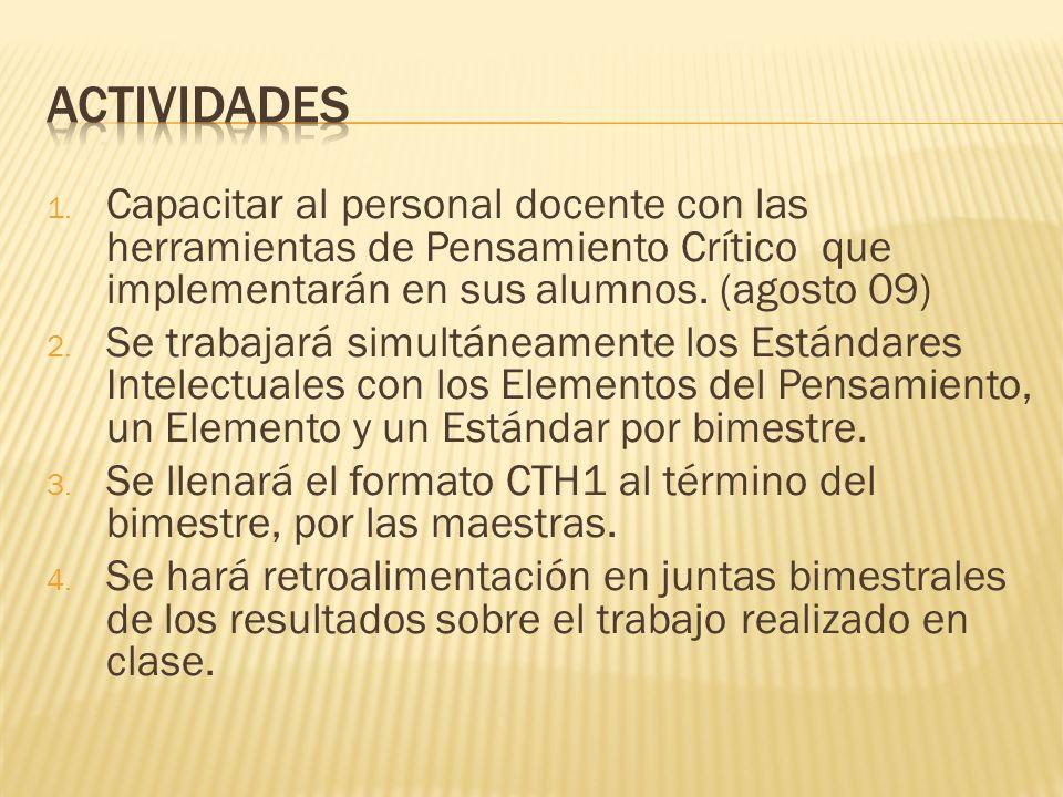 actividades Capacitar al personal docente con las herramientas de Pensamiento Crítico que implementarán en sus alumnos. (agosto 09)