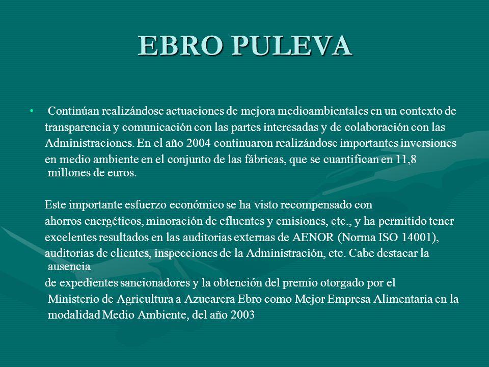 EBRO PULEVA Continúan realizándose actuaciones de mejora medioambientales en un contexto de.
