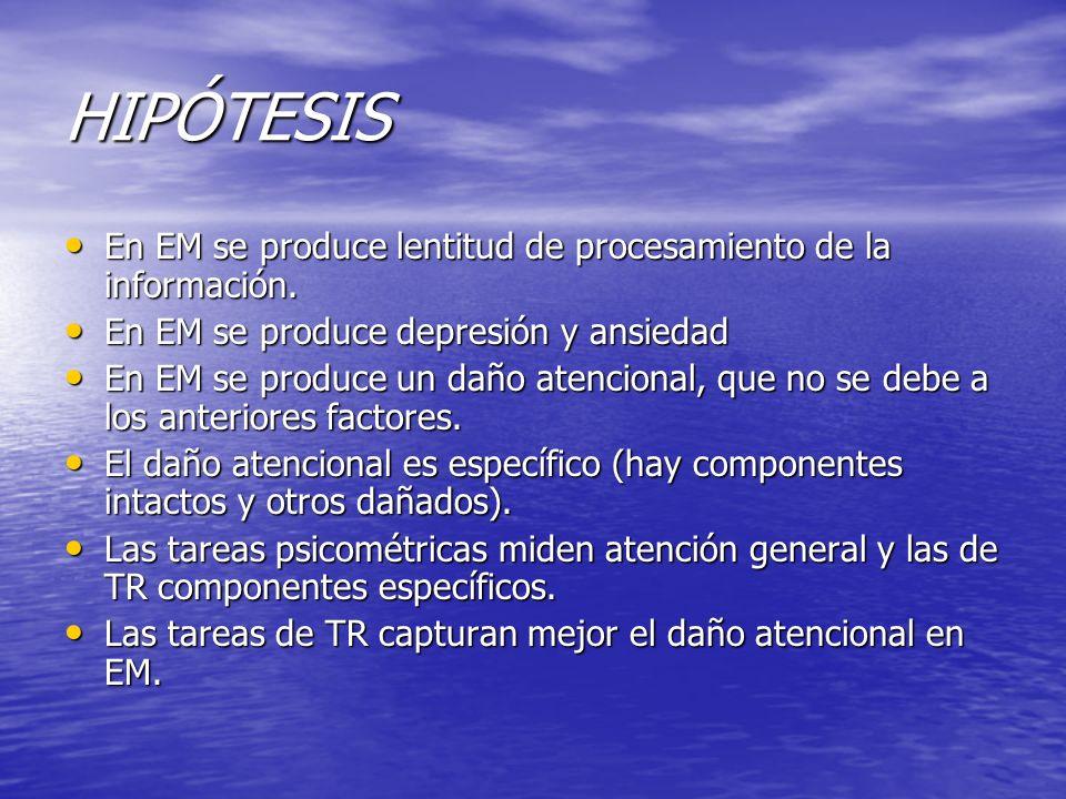 HIPÓTESIS En EM se produce lentitud de procesamiento de la información. En EM se produce depresión y ansiedad.