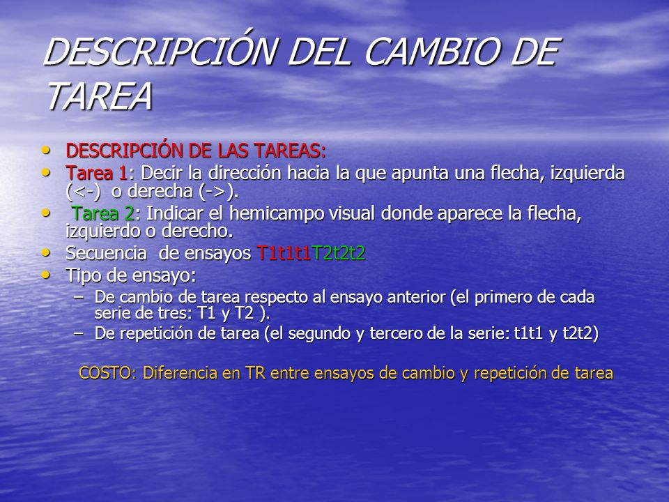 DESCRIPCIÓN DEL CAMBIO DE TAREA