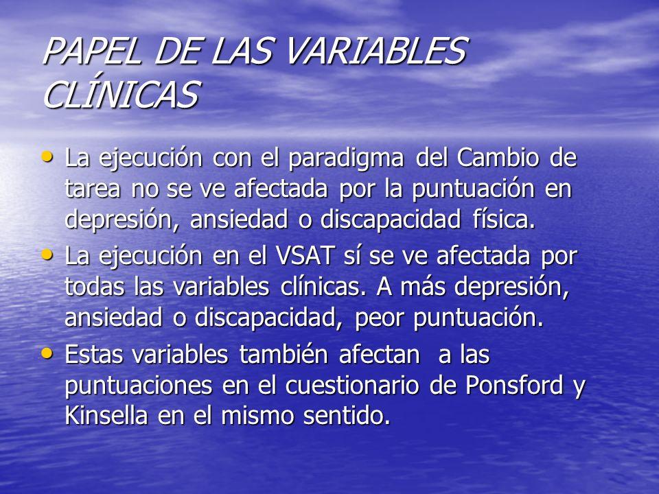 PAPEL DE LAS VARIABLES CLÍNICAS