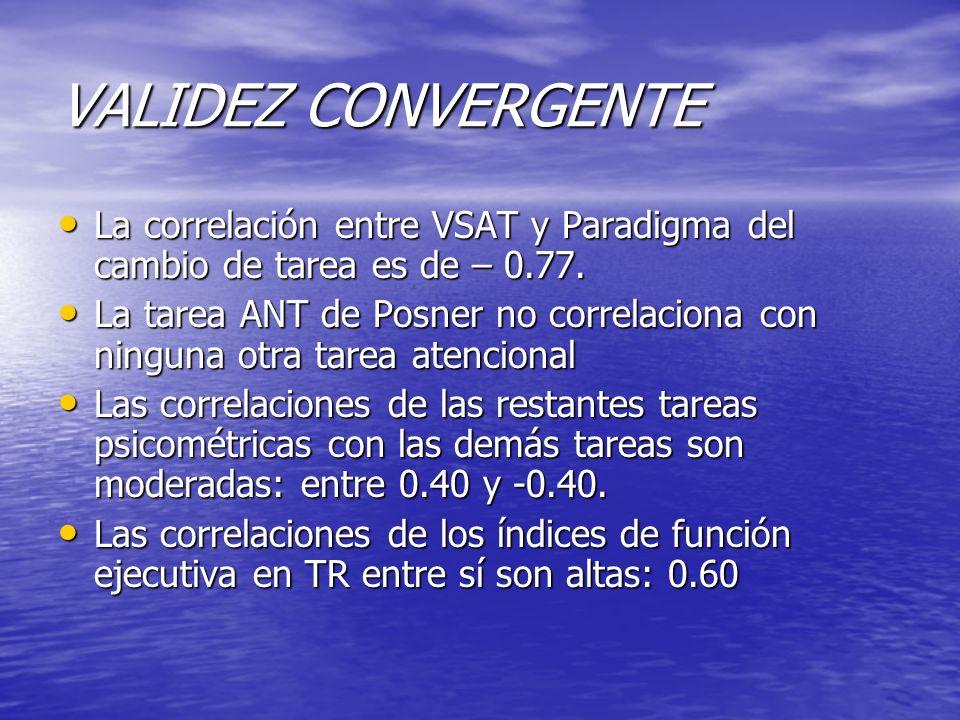 VALIDEZ CONVERGENTE La correlación entre VSAT y Paradigma del cambio de tarea es de – 0.77.