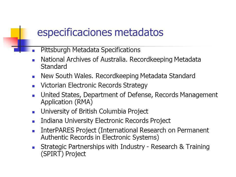 especificaciones metadatos