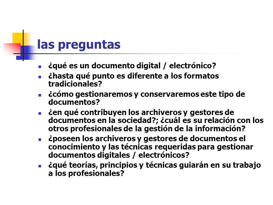 las preguntas ¿qué es un documento digital / electrónico