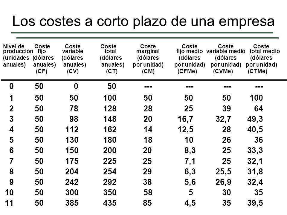 Los costes a corto plazo de una empresa
