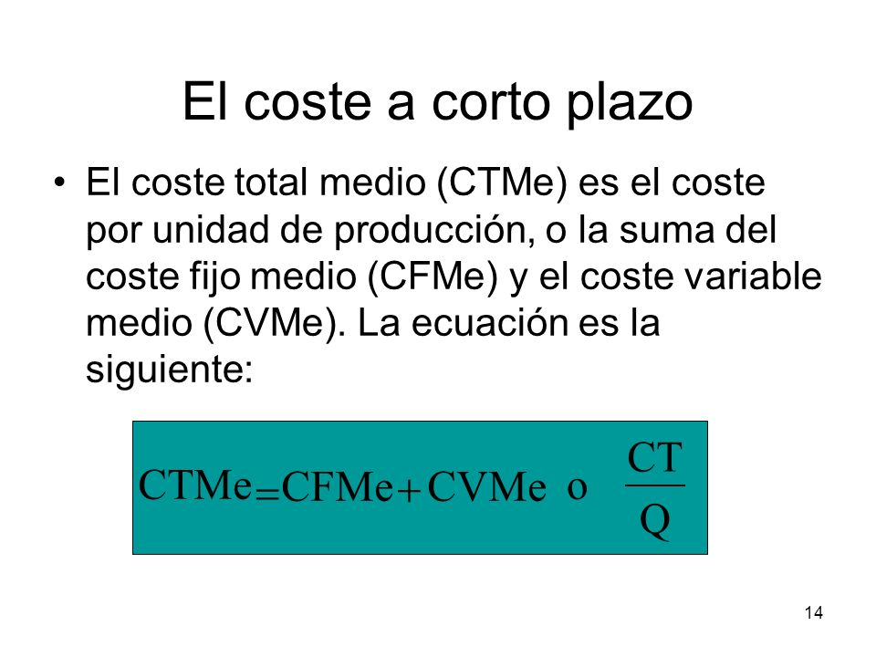 El coste a corto plazo CT CTMe = CFMe + CVMe o Q