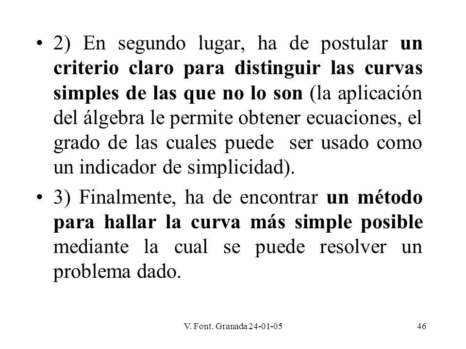 2) En segundo lugar, ha de postular un criterio claro para distinguir las curvas simples de las que no lo son (la aplicación del álgebra le permite obtener ecuaciones, el grado de las cuales puede ser usado como un indicador de simplicidad).