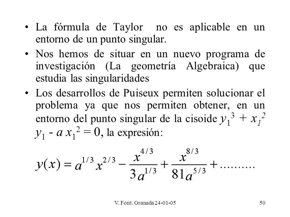 La fórmula de Taylor no es aplicable en un entorno de un punto singular.
