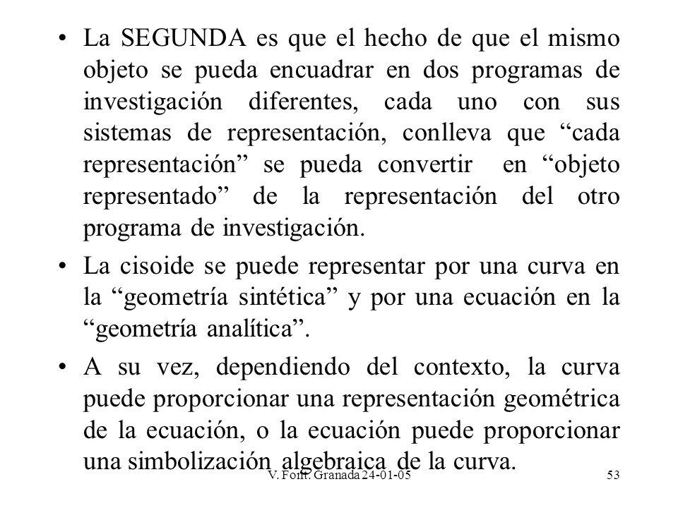 La SEGUNDA es que el hecho de que el mismo objeto se pueda encuadrar en dos programas de investigación diferentes, cada uno con sus sistemas de representación, conlleva que cada representación se pueda convertir en objeto representado de la representación del otro programa de investigación.
