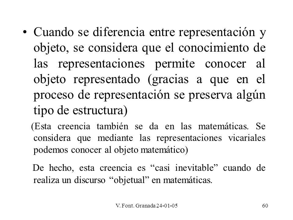Cuando se diferencia entre representación y objeto, se considera que el conocimiento de las representaciones permite conocer al objeto representado (gracias a que en el proceso de representación se preserva algún tipo de estructura)
