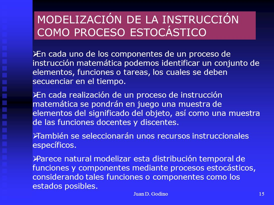 MODELIZACIÓN DE LA INSTRUCCIÓN COMO PROCESO ESTOCÁSTICO