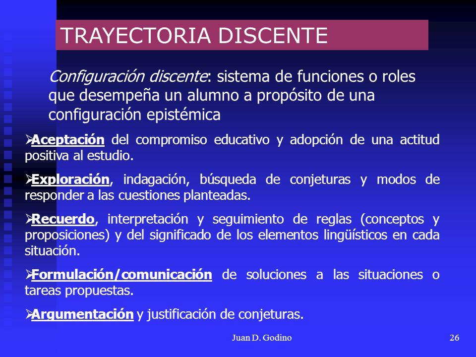 TRAYECTORIA DISCENTE Configuración discente: sistema de funciones o roles que desempeña un alumno a propósito de una configuración epistémica.