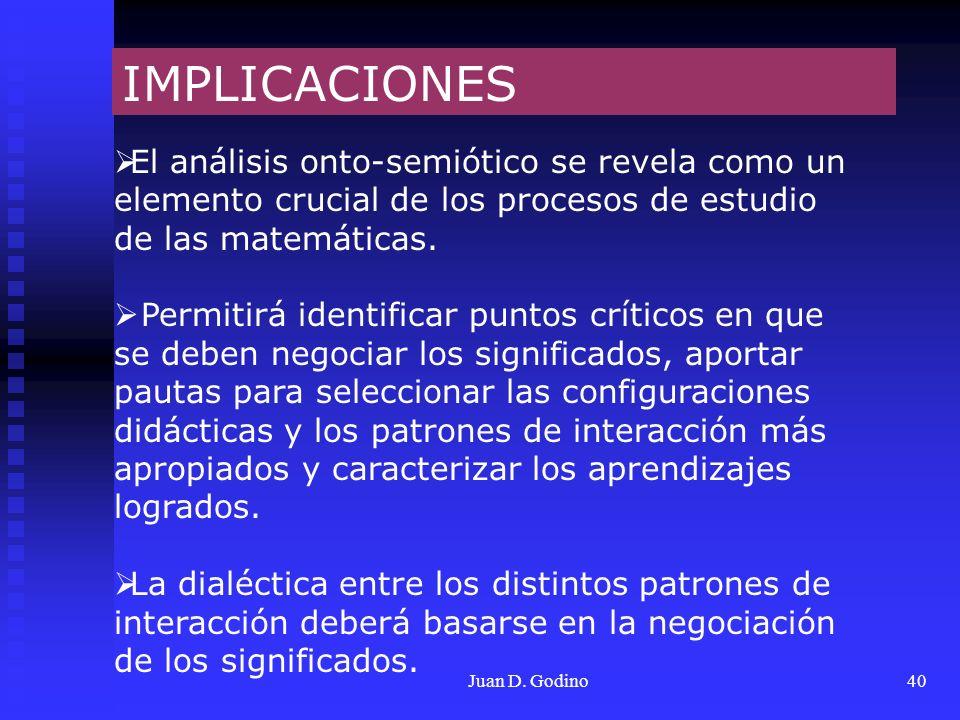 IMPLICACIONESEl análisis onto-semiótico se revela como un elemento crucial de los procesos de estudio de las matemáticas.