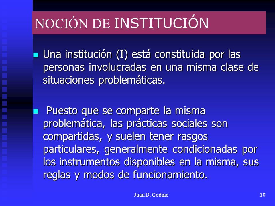 NOCIÓN DE INSTITUCIÓN Una institución (I) está constituida por las personas involucradas en una misma clase de situaciones problemáticas.
