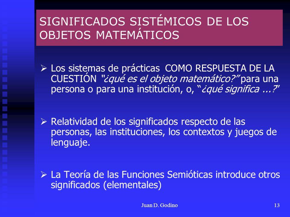 SIGNIFICADOS SISTÉMICOS DE LOS OBJETOS MATEMÁTICOS