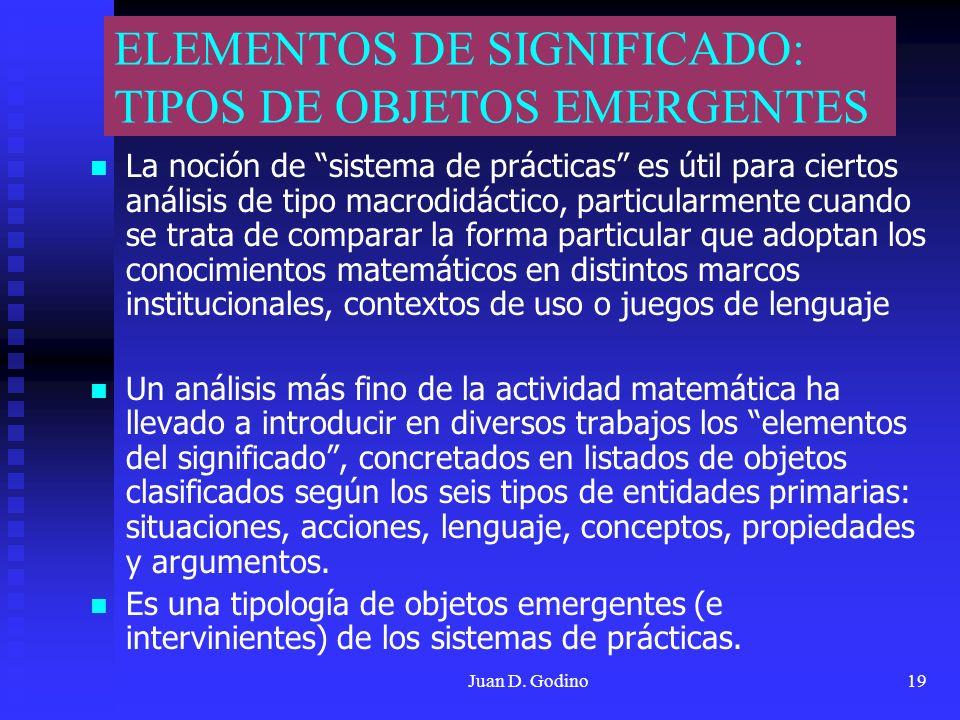 ELEMENTOS DE SIGNIFICADO: TIPOS DE OBJETOS EMERGENTES