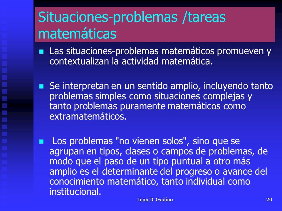 Situaciones-problemas /tareas matemáticas
