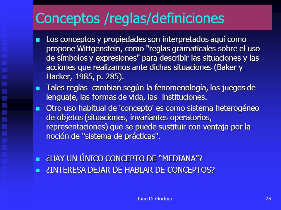Conceptos /reglas/definiciones
